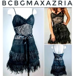 BCBG Maxazria NWT black lace feather dress 6